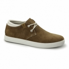 HAMLIN Mens Suede Leather Trainers Cognac