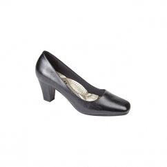 HANNAH Ladies Simple Mid Heel Court Shoes Black