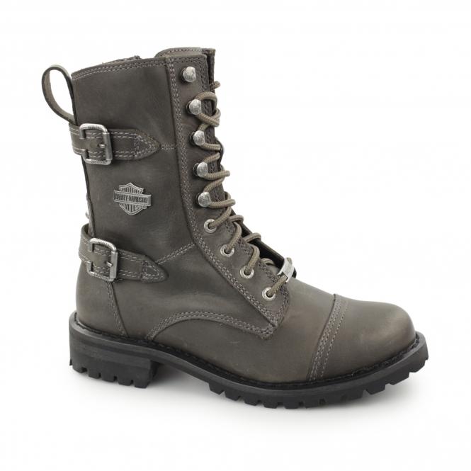 aa02fc1abdf BALSA Ladies Leather Lace Up Mid Calf Boots Stone