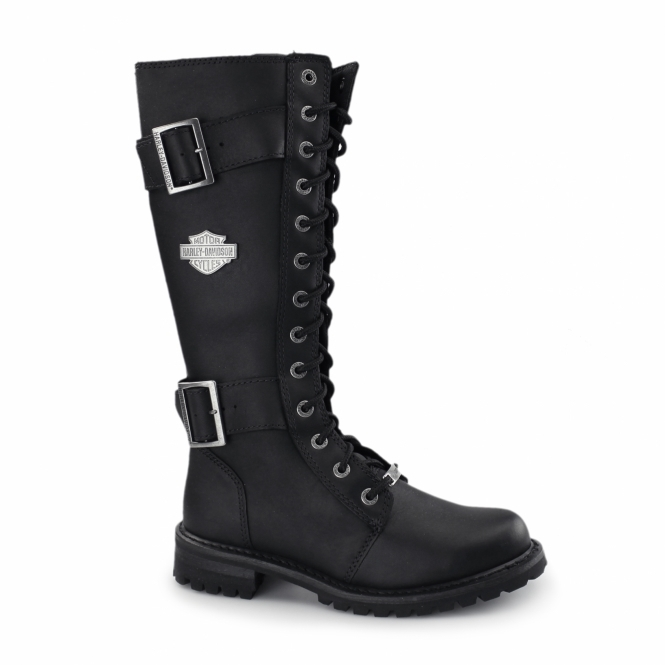 c655220429db1 Harley Davidson BELHAVEN Ladies Tall Zip Biker Boots Black | Shuperb