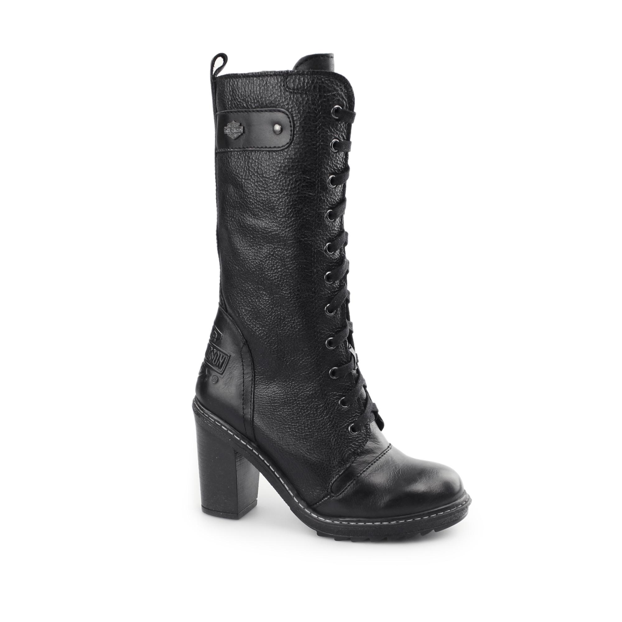 581d1f7c016af Harley Davidson LUNSFORD Ladies Leather Tall Hi Heel Boots Black