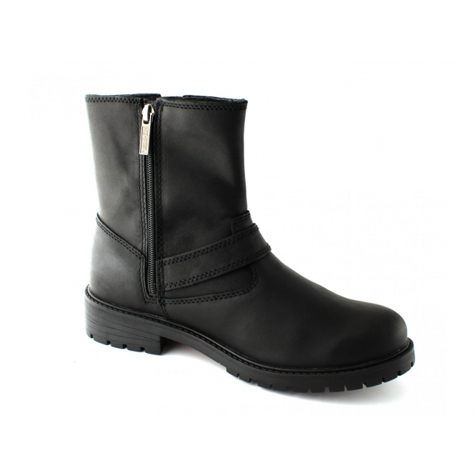 Leather Mens Paxton Boots Black Harley Zip Buckle Wide