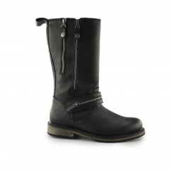 SACKETT Ladies Leather Zip Up Mid Calf Boots Black