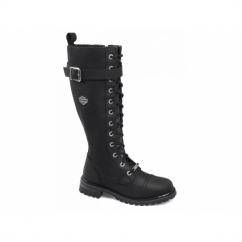 SAVANNAH Ladies Leather Knee High Biker Boots Black