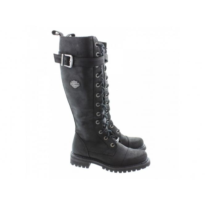 14292d0ffba1f3 Harley Davidson SAVANNAH Ladies Leather Knee High Biker Boots Black