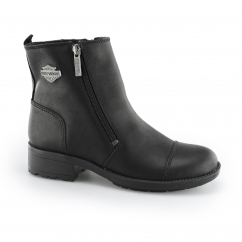 Harley Davidson SENTER Ladies Leather Zip Biker Boots Black