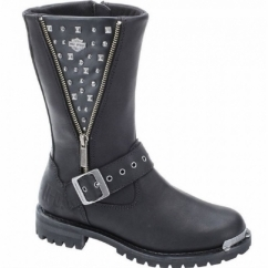 TANYA Ladies Leather Studded Biker Boots Black