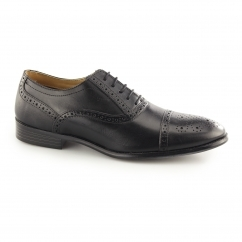 HARTWELL Mens Leather Oxford Brogue Shoes Black