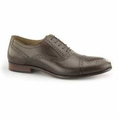 HARTWELL Mens Leather Oxford Brogue Shoes Brown