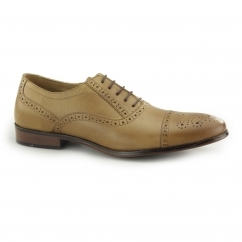 HARTWELL Mens Leather Oxford Brogue Shoes Tan