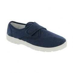 HARVEY Mens Canvas Touch Fasten Shoes Navy