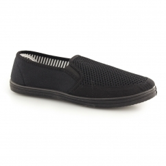 HARVEY Mens Gusset Slip On Casual Yachting Shoe Black