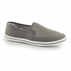 DEK HARVEY Mens Gusset Slip On Casual Yachting Shoe Navy Grey