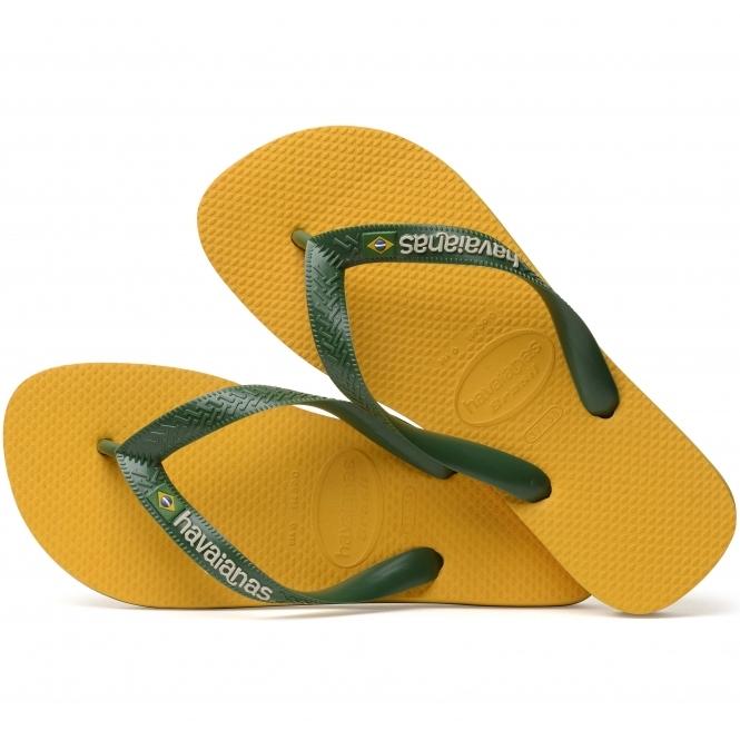 304f498b559c87 Havaianas HAV BRASIL LOGO Mens Flip Flops Banana Yellow