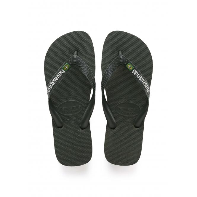 efb176bcb1bb1d Havaianas HAV BRASIL LOGO Mens Flip Flops Green Olive