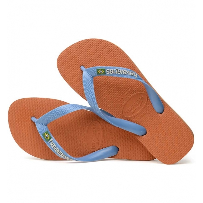 0282acbf03a55 Havaianas HAV BRASIL LOGO Mens Flip Flops Orange Bronze