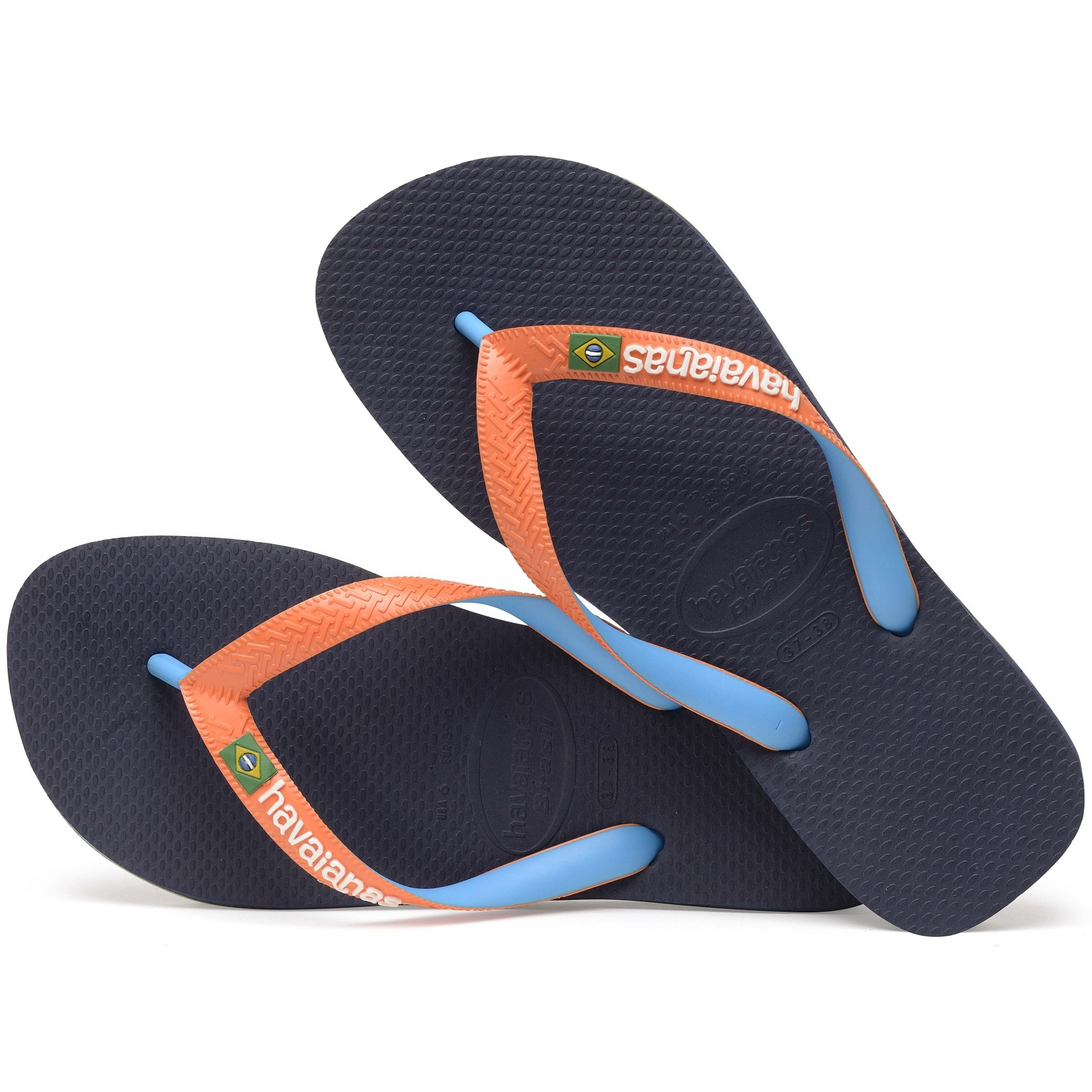 ad9e0eeaed387 Havaianas HAV BRASIL MIX Mens Flip Flops Navy Neon Orange