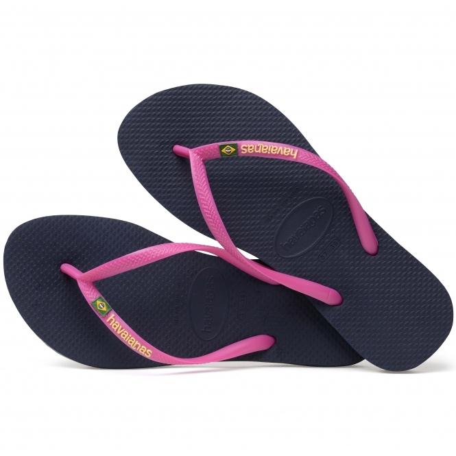 26d6d7f762f0 Havaianas HAV SLIM BRASIL LOGO Ladies Flip Flops Navy Blue