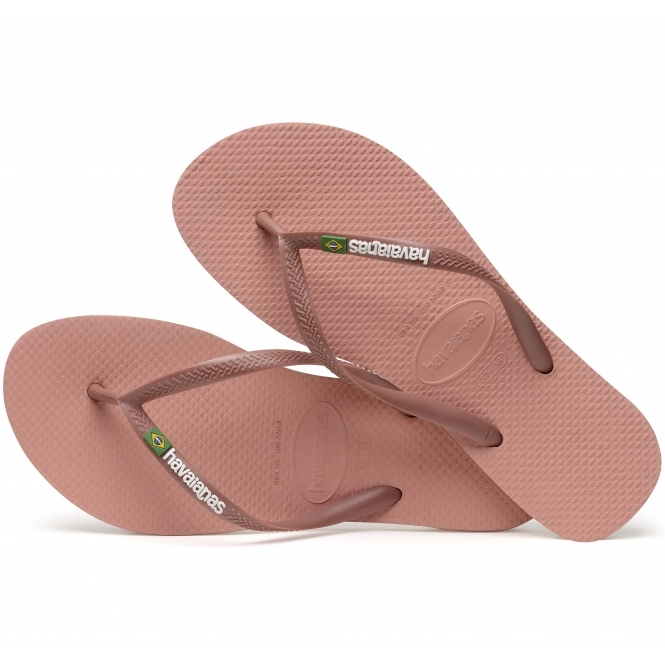 cf3510e2c72adf Havaianas HAV SLIM BRASIL LOGO Ladies Flip Flops Rose