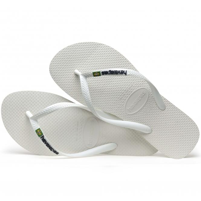 9ee93bbb3d5 Havaianas HAV SLIM BRASIL LOGO Ladies Flip Flops White