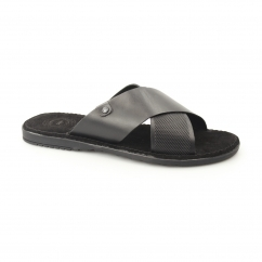 HECTOR Mens Waxy Leather Sandals Black