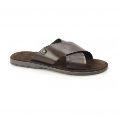 HECTOR Mens Waxy Leather Sandals Brown