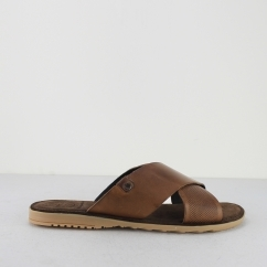 Base London HECTOR Mens Waxy Leather Mule Crossover Sandals Tan