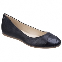 Hush Puppies HEIDI HEATHER Ladies Leather Ballerina Shoes Black