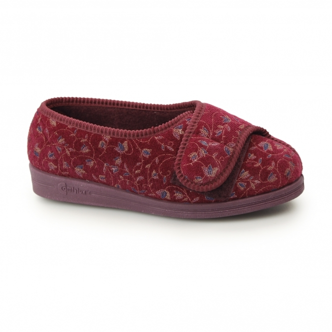 Comfylux HELEN Ladies Super Wide Fit Velcro Floral Slippers Wine