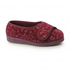 HELEN Ladies Super Wide Fit Velcro Floral Slippers Wine