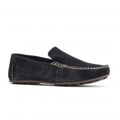 Base London HENTON Mens Leather Loafers Navy