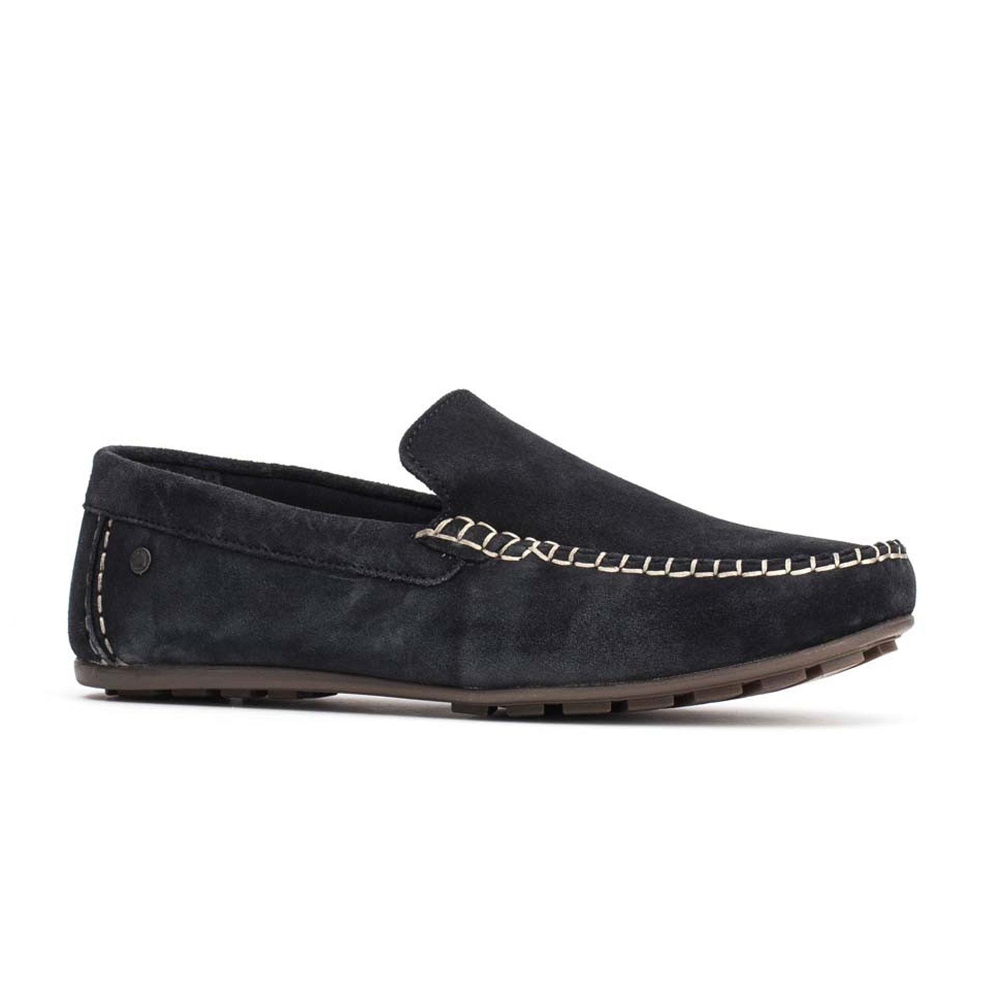 60c95b11e4f Base London HENTON Mens Leather Loafers Navy