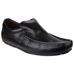 HERITAGE Mens Crazy Leather Slip On Loafers Black