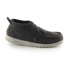 CONRAD Mens Canvas Lace Up Moccassin Shoes Black