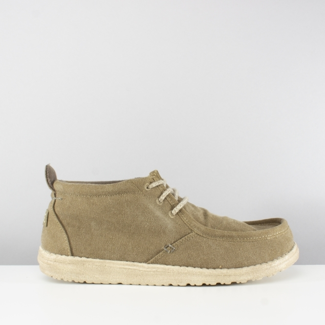 Hey Dude CONRAD Mens Canvas Lace Up Moccassin Shoes Olive