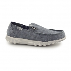 FARTY POST SPORTS Mens Perforated Canvas Wide Shoes Navy