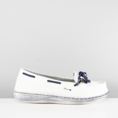 MOKA CLASSIC Ladies Slip On Shoes White/Navy