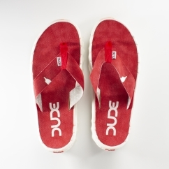 Hey Dude SAVA CANVAS Mens Canvas Flip Flops Red