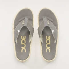 Hey Dude SAVA Ladies Canvas Slip On Flip Flops Grey Lemon