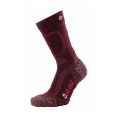 LIGHTWEIGHT Ladies Merino Wool Socks Wine/Taupe