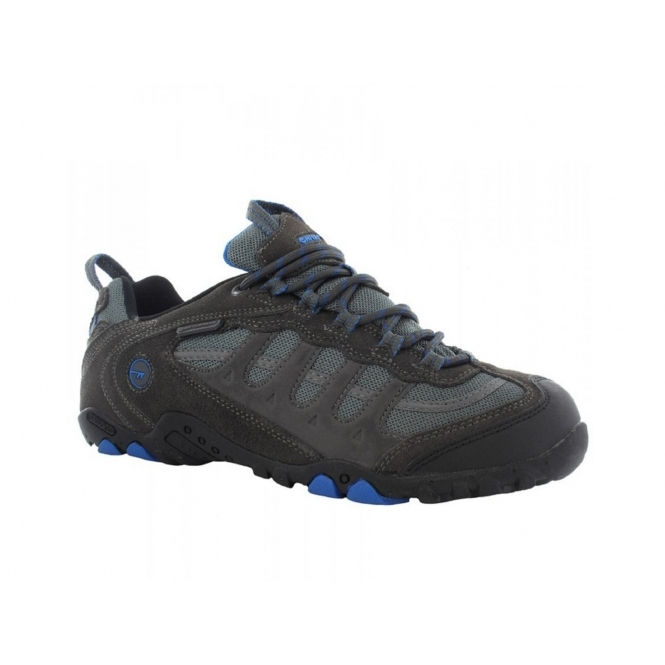 Hi-Tec PENRITH LO WP Mens Suede Waterproof Hiking Shoes Charcoal/Blue
