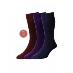 HJ7116/3 Executive™ Mens Plain Cotton Socks Ruby/Mullberry/Navy (3 Pack)