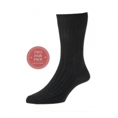 HJ111/2 Executive™ Mens Ribbed Cotton Socks Black (2 Pack)