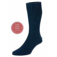 HJ111/2 Executive™ Mens Ribbed Cotton Socks Navy (2 Pack)