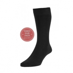 HJ7116/3 Executive™ Ladies Plain Cotton Socks Black (3 Pack)