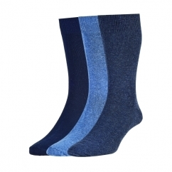 HJ7116/3 Executive™ Mens Plain Cotton Socks Navy/Light Blue/Denim (3 Pack)
