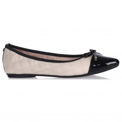 HOLLY Ladies Ballerina Pointed Flats Cream/Black