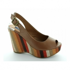 HOLY RIO 1 Ladies Wedge Heel Peep Toe Sandals Cognac