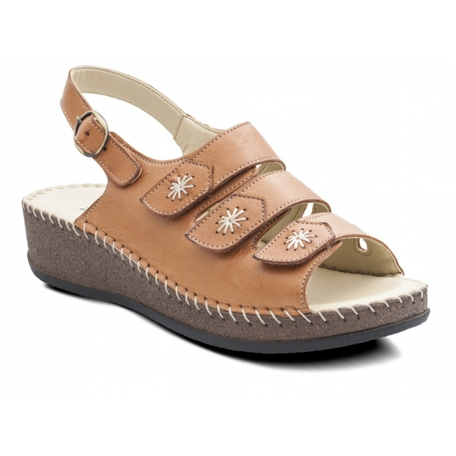 Padders HONEY Ladies Leather Extra Wide EE Fit Velcro Buckle Sandals Tan
