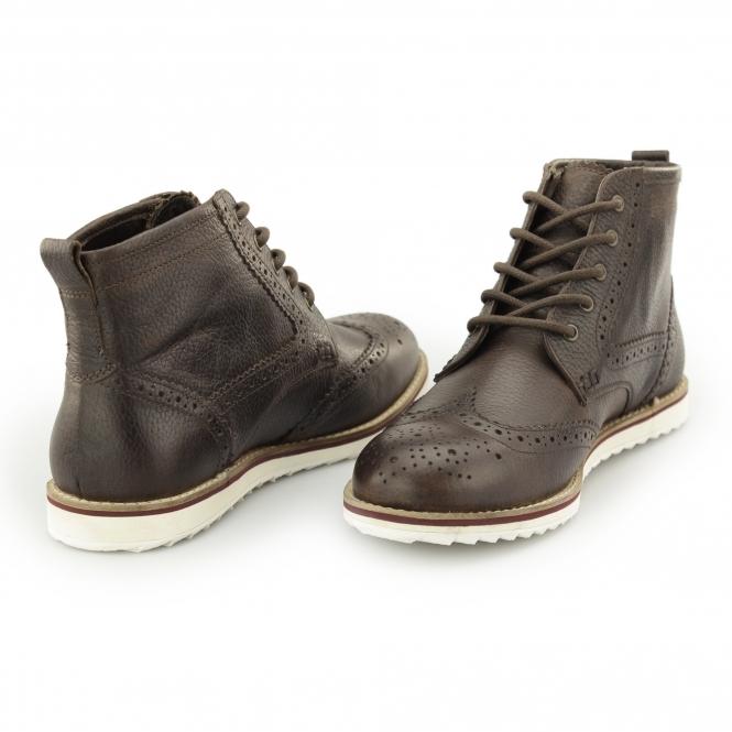 4af194d825c HORWOOD Mens Leather Brogue Ankle Boots Milled Brown
